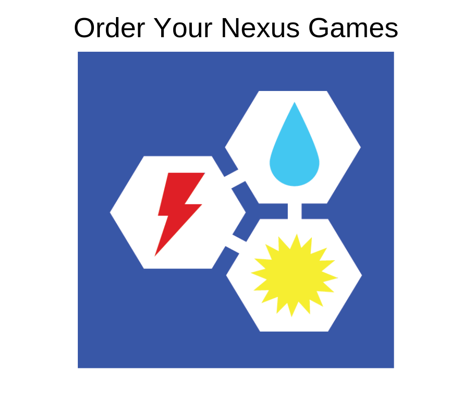 Order Nexus Games for your classroom or family for a fun way to learn about climate, energy and water issues.